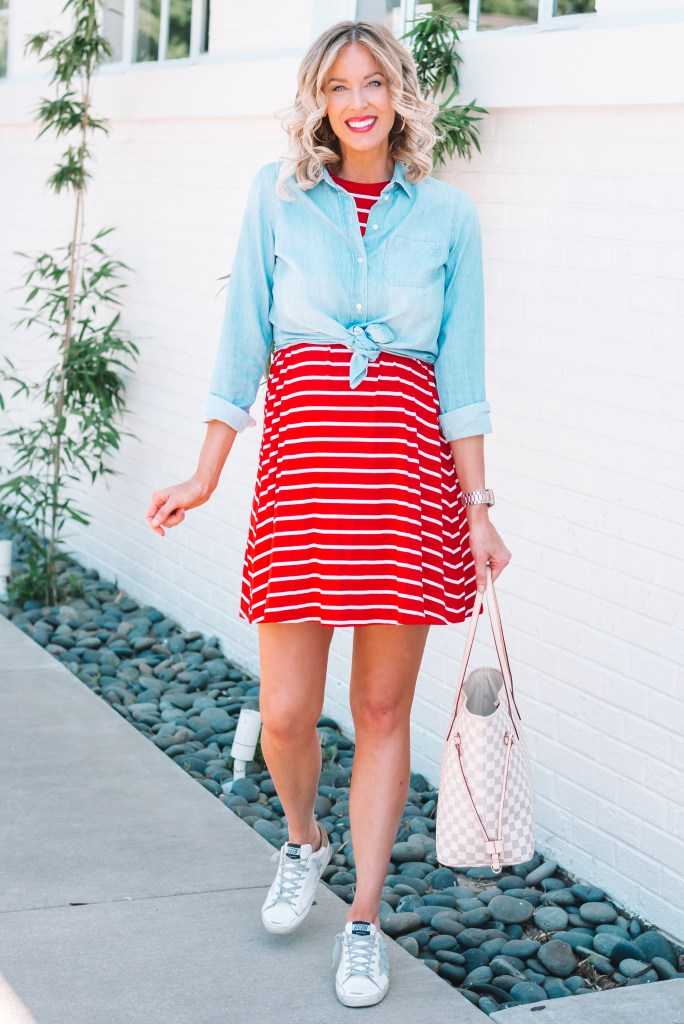 If you are looking for an easy 4th of July outfit idea, I have you covered with this adorable, affordable, and comfy red and white striped swing dress.