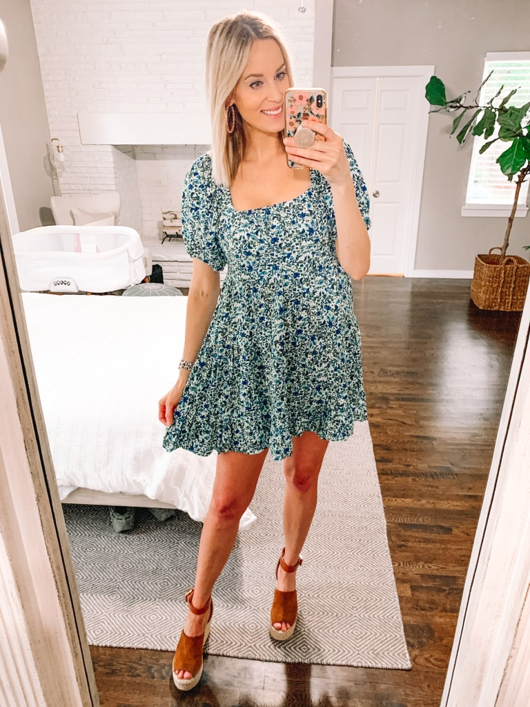 How adorable is this blue swing dress?? See it and more on my Target dress try on.