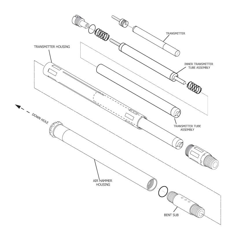 Downhole assembly exploded view.