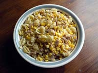 Tuna, corn and pasta.