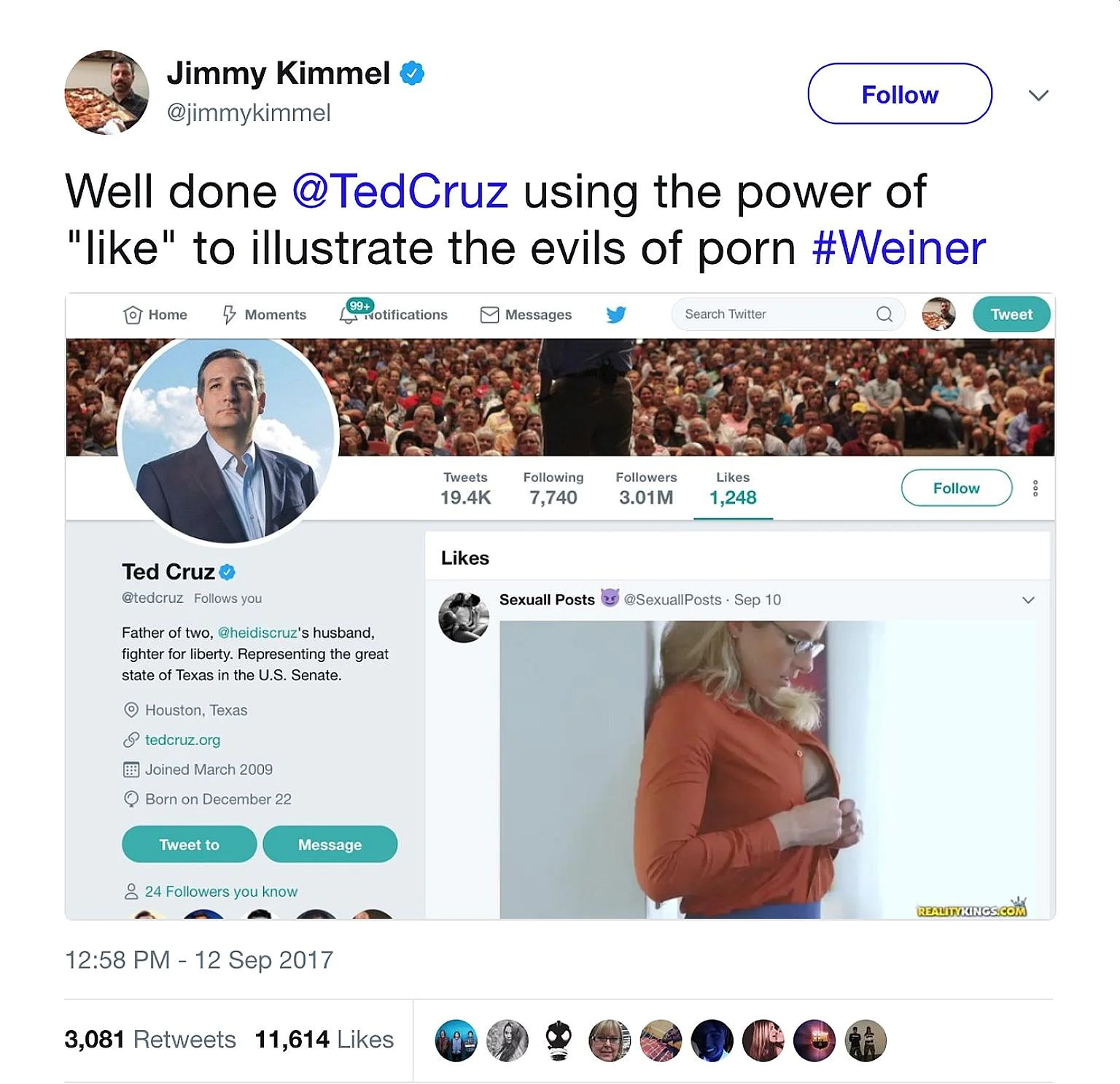 "Comedian Jimmy Kimmel making fun of US Republican Senator Ted Cruz after the politician, or a staff member manning his Twitter account, reportedly ""liked"" a two-minute pornographic video."