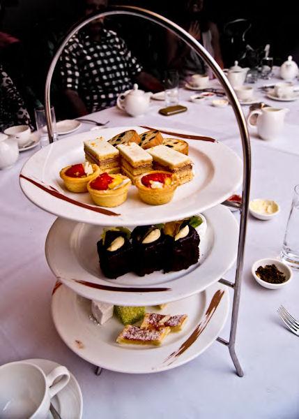 The dessert tray at high tea at Langham Hotel