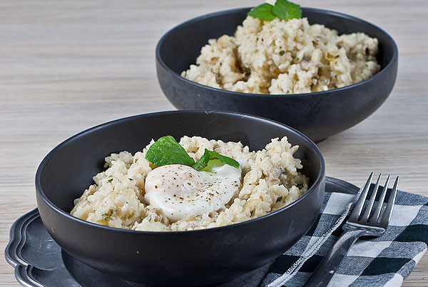 Mushroom Risotto with Poached Egg