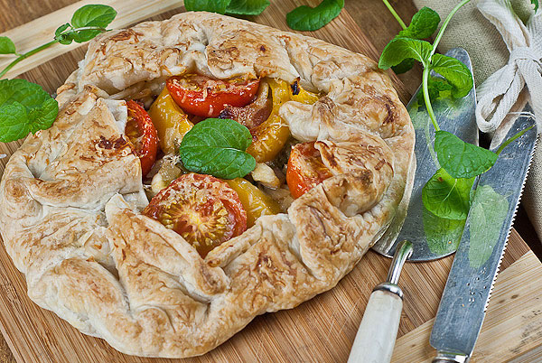 Caramelised onion and vegetable tart