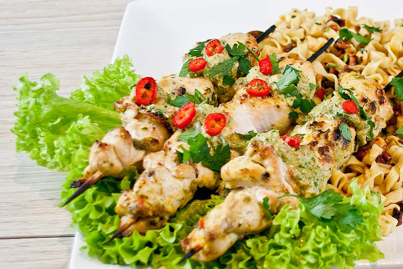 Chicken skewers satay sauce and fiery noodle salad jaime oliver chicken skewers satay sauce fiery noodle salad forumfinder Image collections