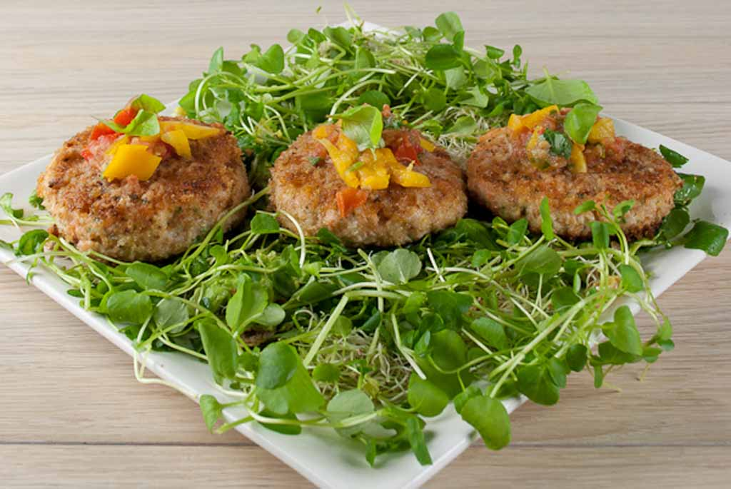 Swedish Style Fishcakes Roasted Baby Potatoes Sprout Salad And