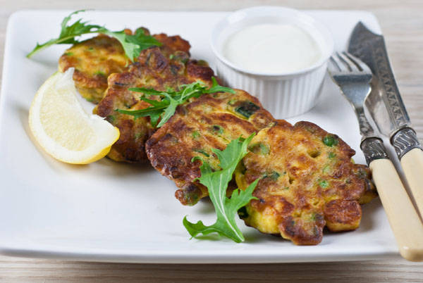 Haloumi, Pea & Mint Fritters  600 post