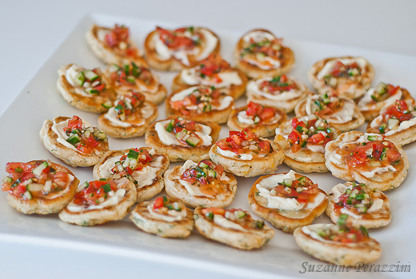 Pikelets with tomato mix