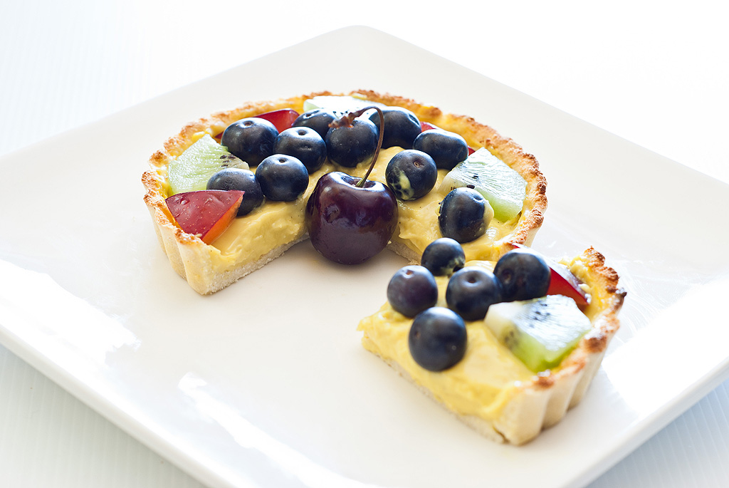 Custard Fruit Tart - grain, dairy and refined sugar-free