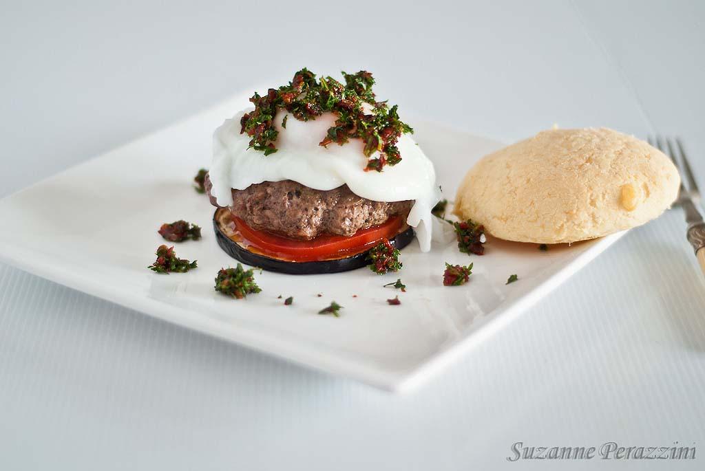 Eggplant Burger Stack & Pan de Yucca