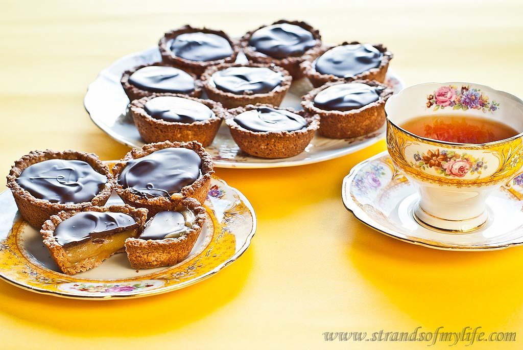 Caramel Lemon Curd & Chocolate Tartlettes - gluten free and low FODMAP