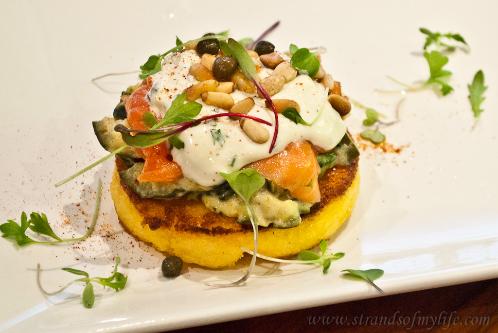 Salmon and polenta stack - gluten-free and low FODMAP