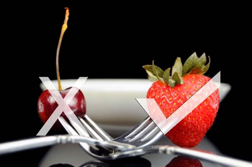 Cherry and strawberry