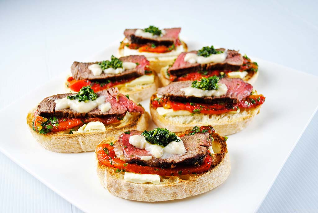 Beef, Feta and Roasted Pepper Bruschetta