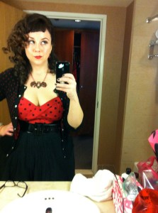 Mugging it up in my Deadly Dames Vamp Top, El Dorado Club Filigree Bat Necklace, and great hair and makeup by Rosetta Garcia