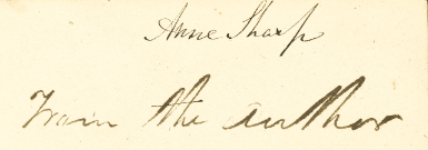 Anne Sharp's Copy of Emma - Inscription