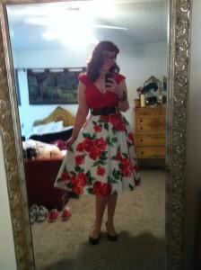 Doris Skirt in red floral