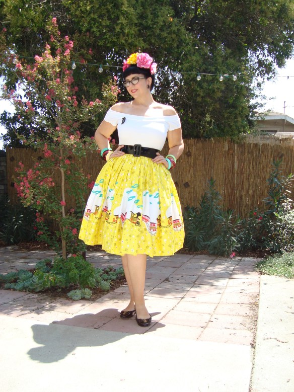 Mary Blair train border print skirt