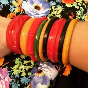 Heart of Haute Erika set in Eden floral print and bakelite bracelets
