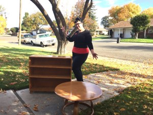 Yiayia's Heywood Wakefield bookcase and table