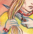 Nadezhda had brought a knife, and now she took it and cutt off her hair.