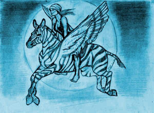 Blue Flying Zebra ©Teri Santitoro 1981