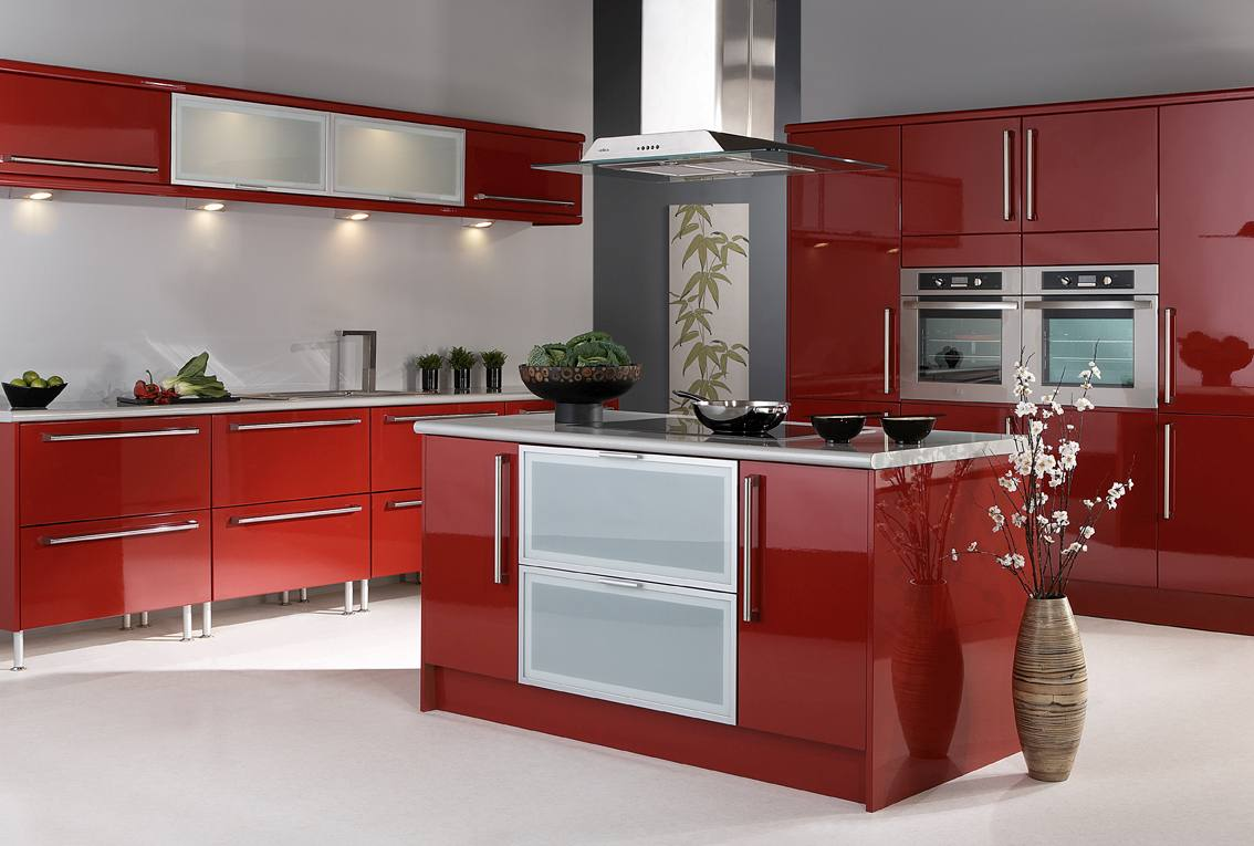 High Gloss Red Kitchen Cabinets