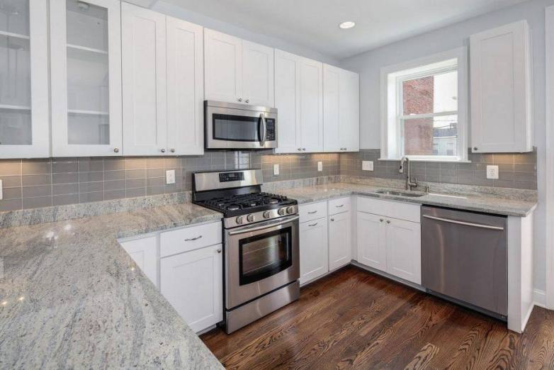 White Cabinets and Grey Granite