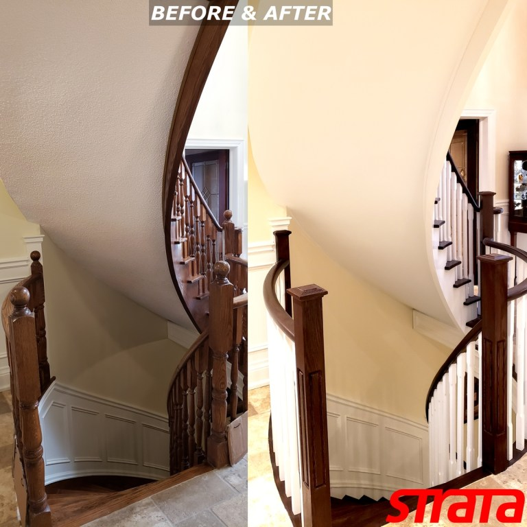 Before and After - Dust Free Popcorn Removal - Stair Refinishing - Railing Renovation - Mississauga