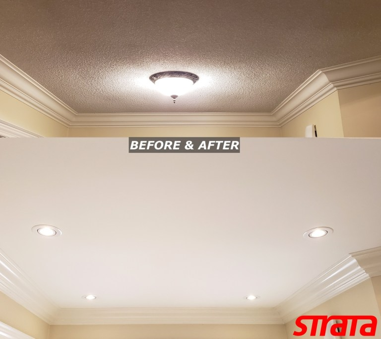 Ceiling Renovation LED Potlight installation and dustless popcorn removal Maple - Toronto - King - Aurora - smooth ceilings