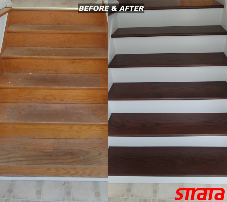 Before and After - Dust Free Stair Refinishing - Railing Renovation - North York