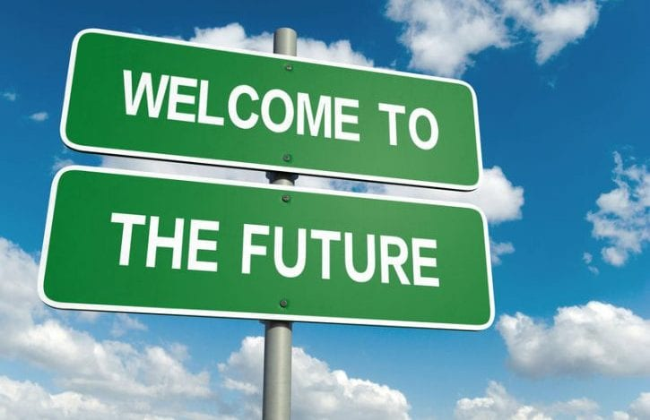 30348293 - a road sign with welcome to the future words on sky background