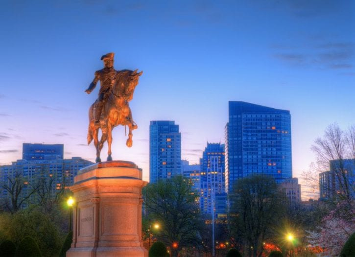 14397682 - george washington equestrian statue at public garden in boston, massachusetts.