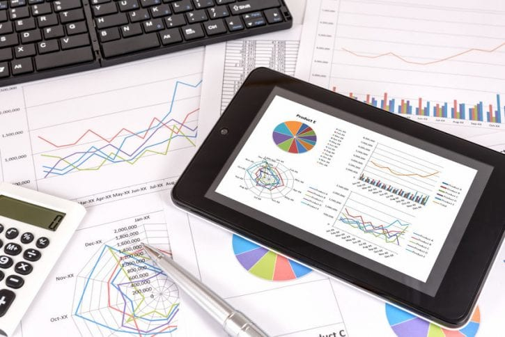 45852998 - business performance analysis. business graphs with tablet, pen.
