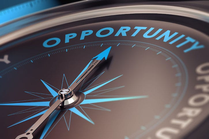 35051580 - compass with needle pointing the word opportunity, concept image to illustrate business opportunities and strategy.