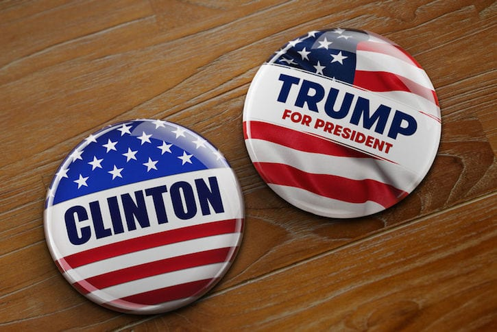 55061852 - washington, dc - april 10, 2016: illustration of presidential campaign buttons of hillary clinton and donald trump running for the president's office.