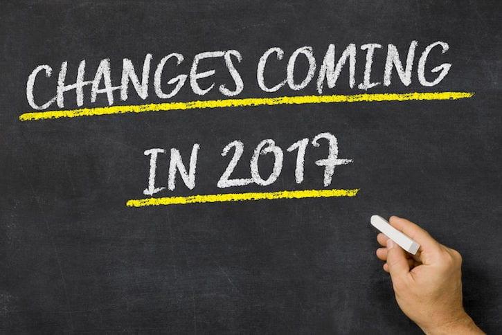 64287327 - changes coming in 2017 written on a blackboard