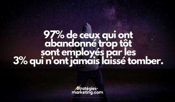 citation motivation : 97% de ceux qui ont abandonné trop tôt sont employés par les 3% qui n'ont jamais laissé tomber.