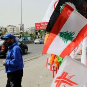 In this photograph from Lebanon, a vendor sells national and party flags near Beirut on May 2, 2018, ahead of parliamentary elections.