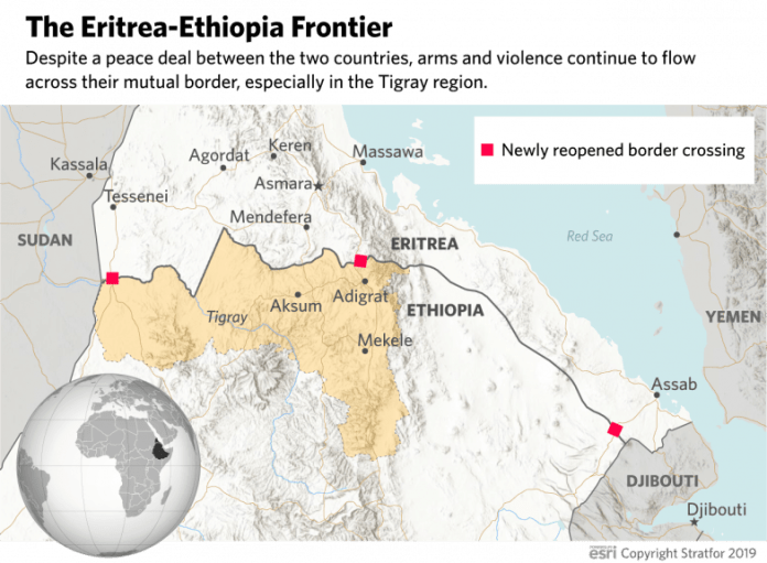 A map showing reopened border crossings between Ethiopia and Eritrea