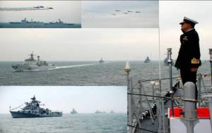 The fleet out at sea during Chinese IFR. Rear Admiral AG Thapliyal, the Flag Officer Commanding Eastern Fleet exchanging ceremonials at sea.