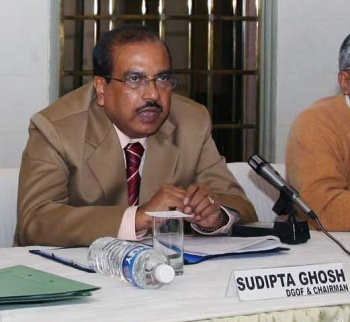 The Director General Ordnance Factories and Chairman, Ordnance Factory Board, Sudipta Ghosh, addressing a press conference on the eve of DEFEEXPO-08, in New Delhi on February 15, 2008.