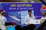 The Postmaster General releases a cover on the INS Satpura.