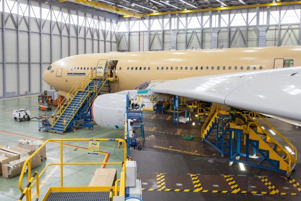 A green Airbus A330 undergoing conversion to the military MRTT version at Getafe, Spain | Photo: Airbus Military