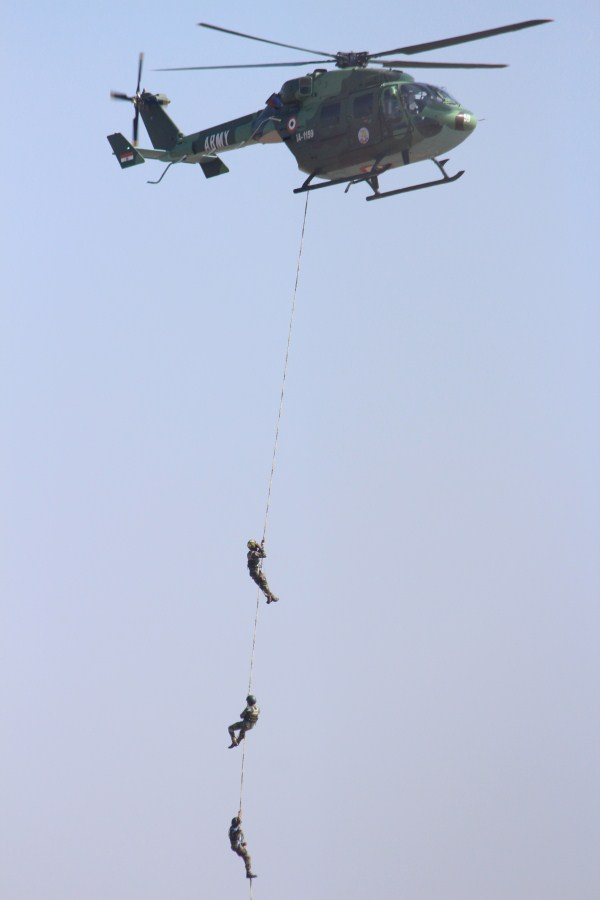 Army commandos fast-roping down from an ALH Dhruv | Photo: StratPost
