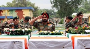 Indian Army chief General Bikram Singh paying his respects to the soldiers killed in the ambush in Poonch on Monday night.