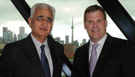 Indian Minister of External Affairs, Salman Khurshid with John Baird, Minister of Foreign Affairs, in Canada last month   Photo: Indian High Commission, Canada