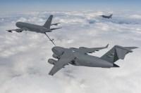 A KC-46 refuels a C-17 Globemaster III as an F-16 keeps watch   Photo: Boeing