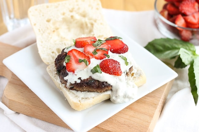 Strawberry Basil Bleu Burgers | Strawberry Blondie Kitchen