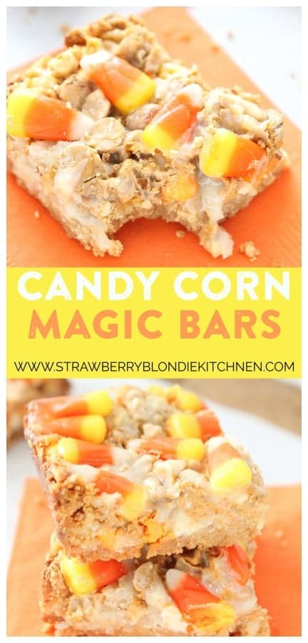 Candy Corn Magic bars are a real Halloween treat and will be a hit at your next party! They feature 7 layers of oreo crust, coconut, peanuts, white chocolate chips, butterscotch chips, sweetened condensed milk and candy corn pieces. With a combination like that, how could you go wrong? | Strawberry Blondie Kitchen